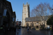 the other end of Cardiff Market on the left and St John's Church
