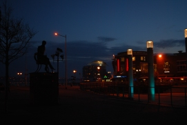 Roald Dahl Plass and Ivor Novello statue, Cardiff Bay