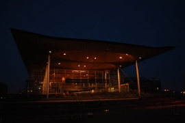 Senedd by night, Cardiff Bay
