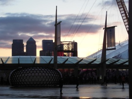 Canary Wharf in the background. Actually, you can't take pictures there, but I did...