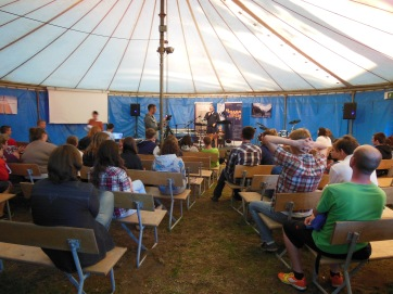 inside the meeting tent