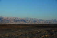 getting closer to the South, red mountains of Abarim; behind them - Jordan